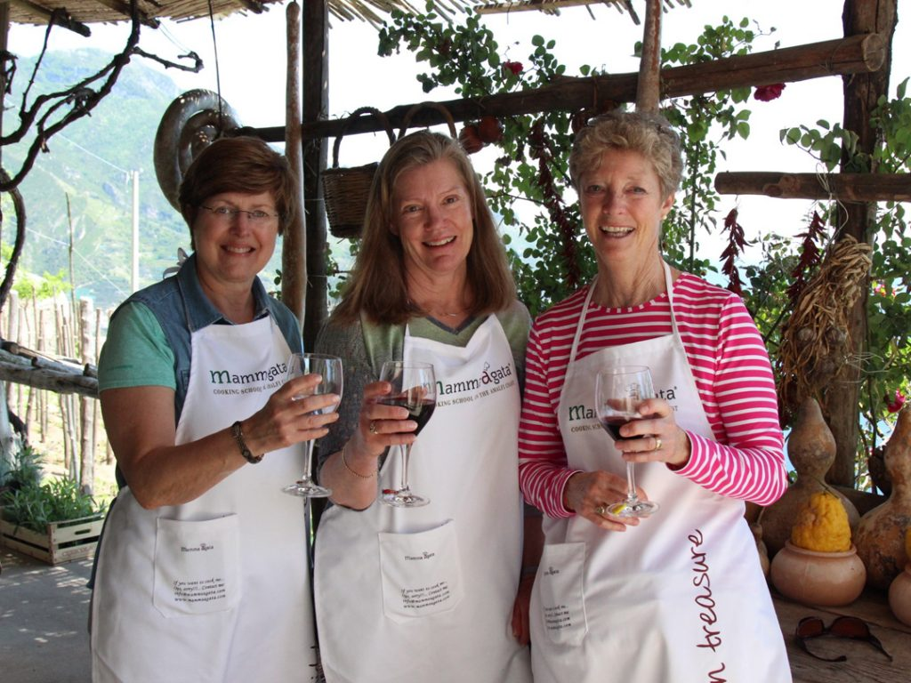 wine tasting at Mamma Agata's Cooking School on the Amalfi Coast Italy Carol Ketelson Delectable Destinations Culinary Tours