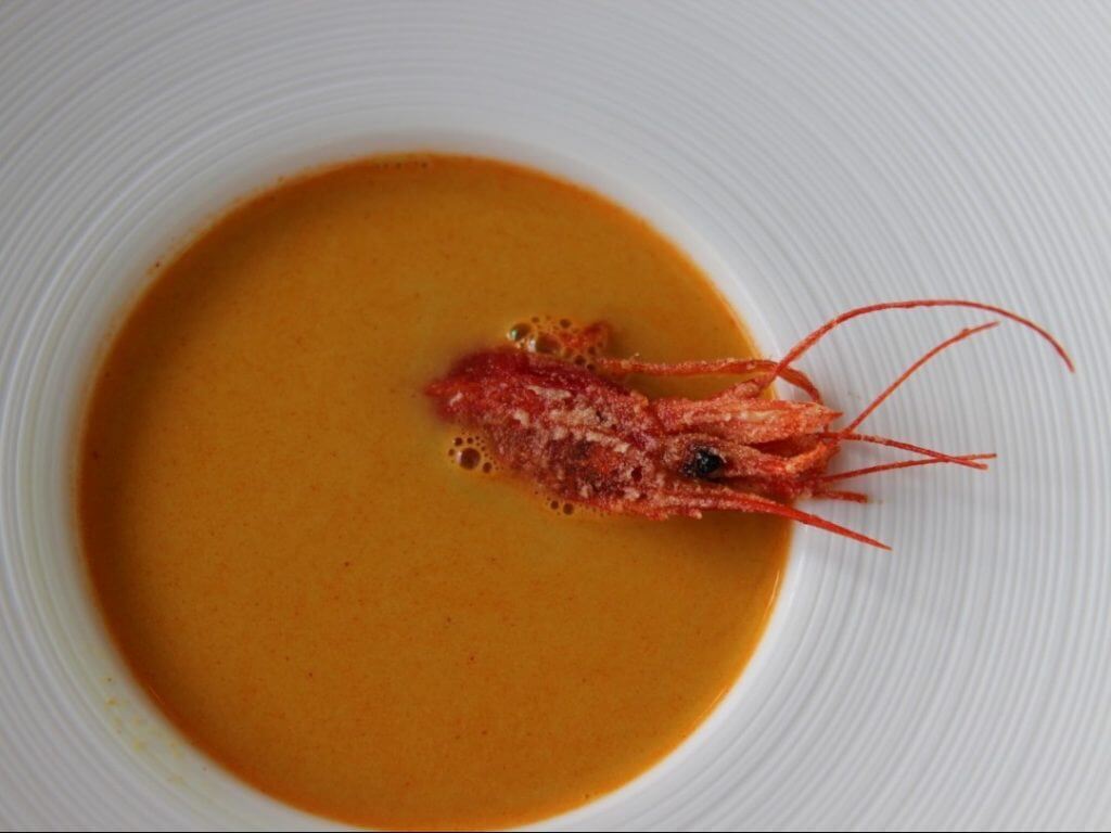 Shrimp bisque by private chef David Andalucia Spain Carol Ketelson Delectable Destinations Culinary Tours