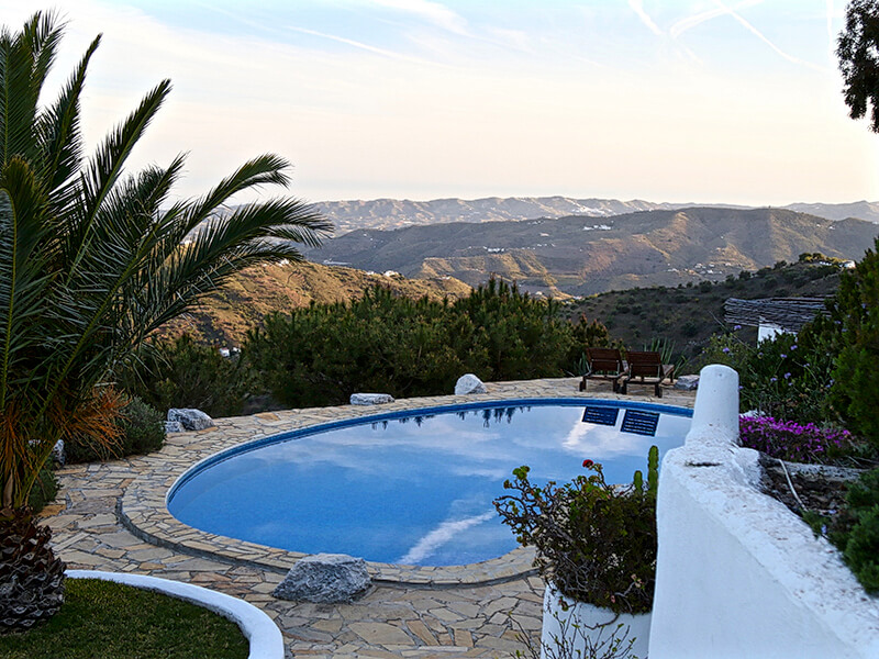 Beautiful view from pool at El Corligto Andalucia Spain Carol Ketelson Delectable Destinations Culinary Tours