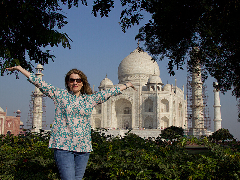 Carol Ketelson of Delectable Destinations at the Taj Mahal in Agra, India
