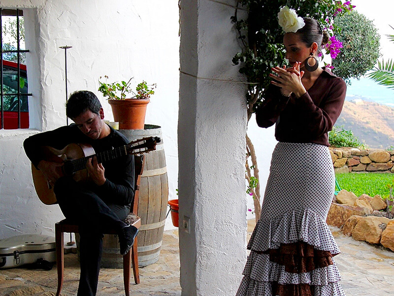 Flamenco Dancer and Guitar at El Carligto Andalucia Spain Carol Ketelson Delectable Destinations Culinary Tours