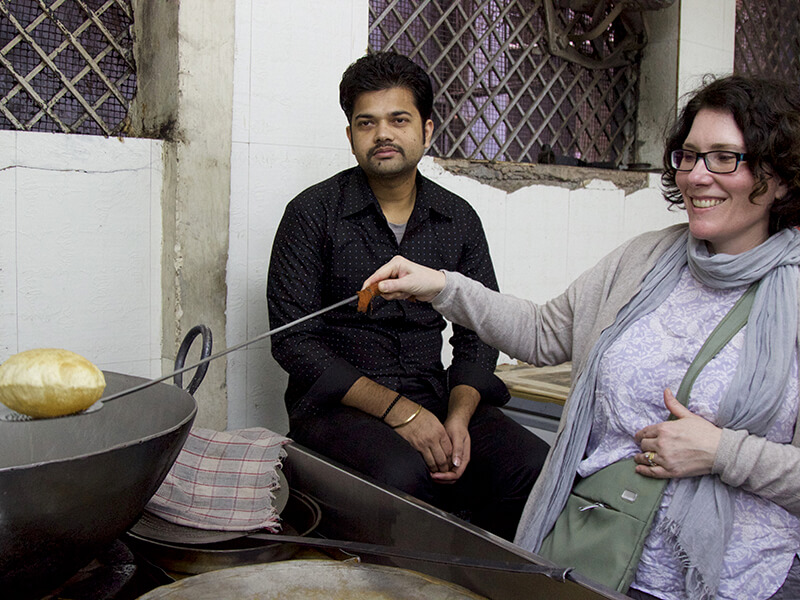 trying street food in Delhi India Carol Ketelson Delectable Destinations Culinary Tours