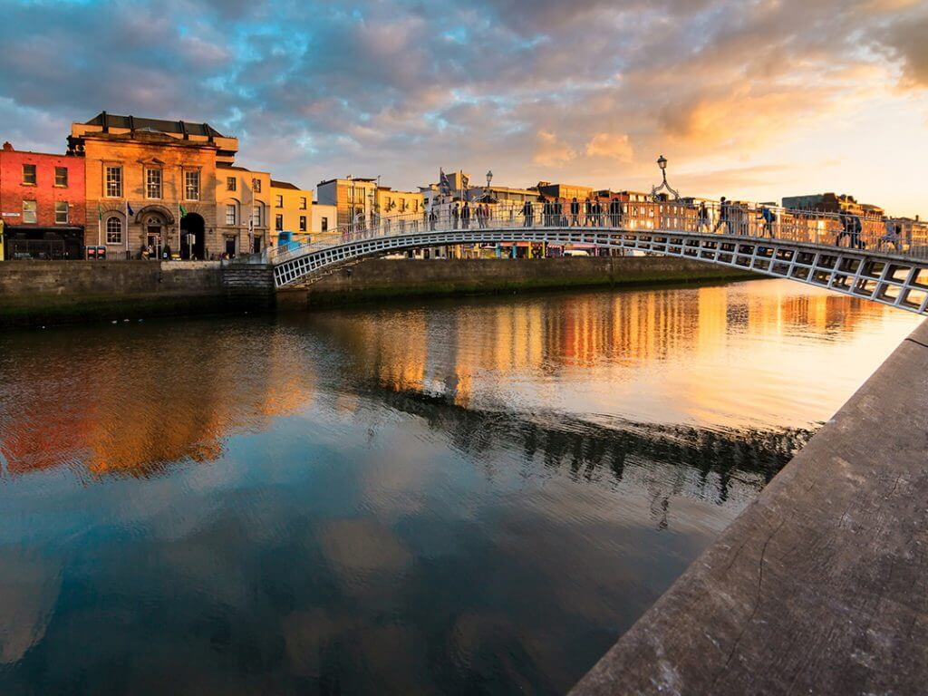 bridge at sunset in Dublin Ireland Delectable Destinations Culinary Tour of Ireland