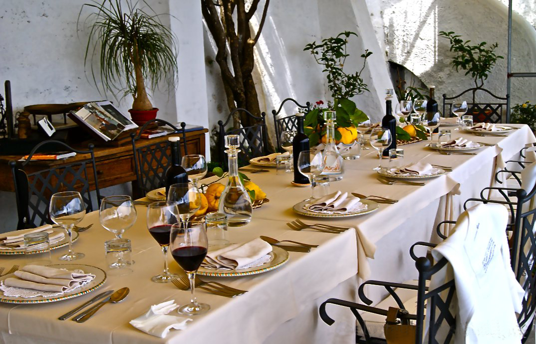 Lunch table setting at Mamma Agata's Cooking School on the Amalfi Coast