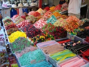 Candy at open-air markets Delectable Destinations Culinary Tour