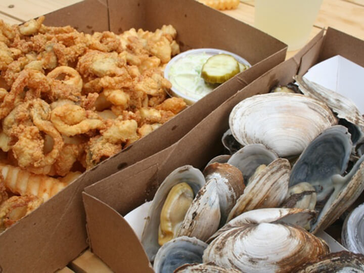 Steamed clams and fried clams at the Clam Shack Kennebunkport Maine