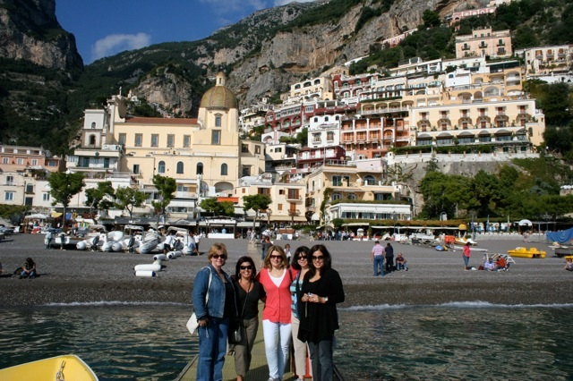 View of Positano from the beach Beauty Adventure Amalfi Coast Italy Delectable Destinations Carol Ketelson