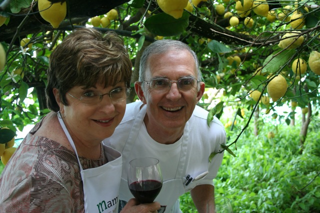 Enjoying some wine in the lemon grove Delectable Destinations Amalfi Coast Culinary Adventure Carol Ketelson