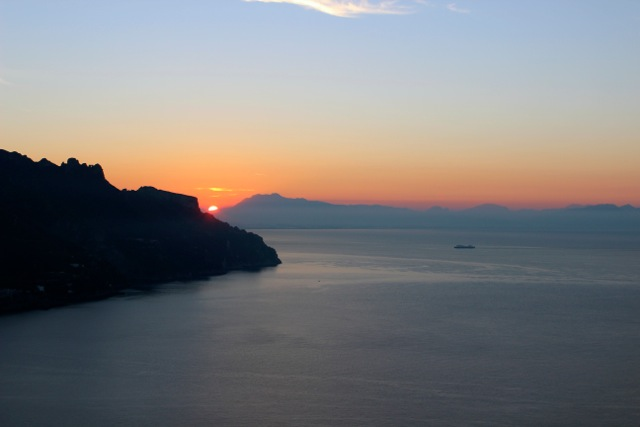 Sunset over Amalfi Coast - Memories 2014 Culinary Tours - Delectable Destinations - Carol Ketelson