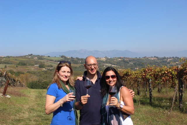 Wine Tastings always taste better in the middle of the vineyards in Caiazzo - Memories 2014 Culinary Tours - Delectable Destinations - Carol Ketelson