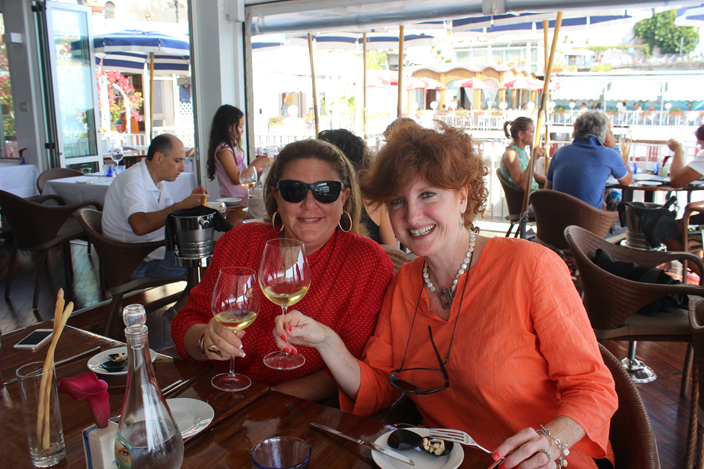 Enjoying a seaside lunch at Ristorante Marina Grande in Amafli - Girls Getaway Luxury Travel Delectable Destinations Carol Ketelson