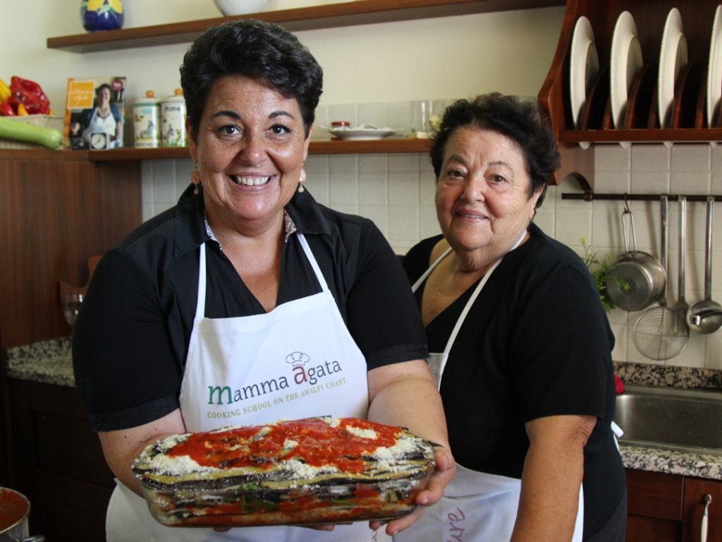 Chiara and Mamma Agata at Mamma Agata Cooking School on the Amalfi Coast Italy Carol Ketelson Delectable Destinations Culinary Tours