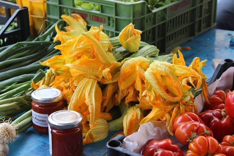 zucchini flowers at market in Florence Italy Carol Ketelson Delectable Destinations Culinary Tours