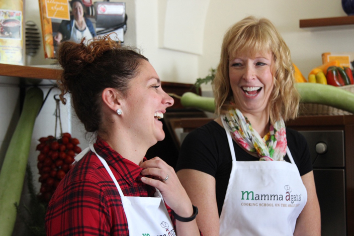 Enjoying our cooking class at Mamma Agata's Kitchen Culinary Tours Delectable Destinations Carol Ketelson