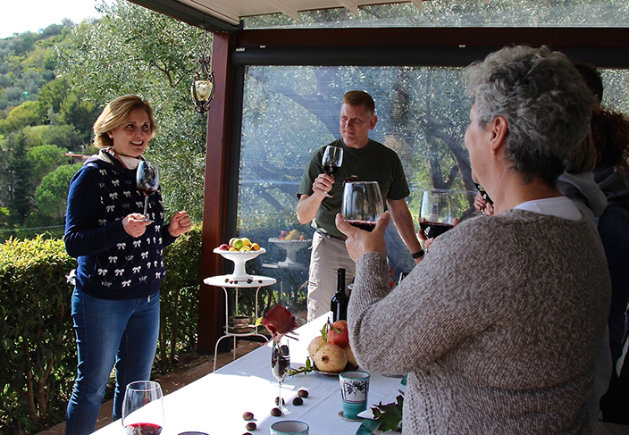 Salute! Vineyard owner Patrizia Malanga of Le Vigne di Raito with our culinary and wine tour of the Amalfi Coast - Amongst vines vigne di raito Delectable Destinations Carol Ketelson Amongst vines vigne di raito